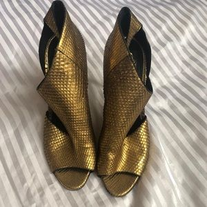 Tom Ford Open Toe Python Ankle Boots